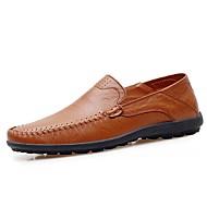 baratos Sapatos de Tamanho Pequeno-Homens Couro Ecológico Outono Conforto Mocassins e Slip-Ons Preto / Amarelo / Marron