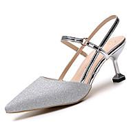 baratos Sapatos Femininos-Mulheres Sapatos Couro Ecológico Verão Chanel Saltos Salto Sabrina Dedo Apontado Dourado / Prateado