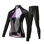 Mysenlan สำหรับผู้หญิง แขนยาว Cycling Jersey with Tights - สีดำ จักรยาน ชุดเสื้อผ้า ระบายอากาศ 3D Pad แห้งเร็ว กีฬา เส้นใยสังเคราะห์ สแปนเด็กซ์ ลายต่อ ขี่จักรยานปีนเขา Road Cycling เสื้อผ้าถัก