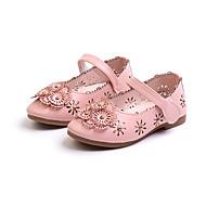baratos Sapatos de Menina-Para Meninas Sapatos Couro Ecológico Primavera Verão Conforto / Sapatos para Daminhas de Honra Rasos Caminhada Flor / Velcro para Adolescente Preto / Bege / Rosa claro