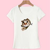 T-shirt Per donna Per uscire Essenziale Con stampe, Animali Cotone Gatto