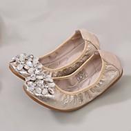 baratos Sapatos de Menina-Para Meninas Sapatos Sintéticos Primavera & Outono Conforto Rasos Pedrarias para Infantil / Adolescente Dourado / Prateado