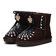 baratos Sapatos de Menina-Para Meninas Sapatos Pêlo de Coelho / Camurça Inverno Botas de Neve Botas Pedrarias / Cristais / Flor para Infantil / Bébé Café / Botas Cano Médio / Casamento