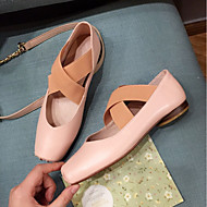 baratos Sapatos Femininos-Mulheres Sapatos Pele de Carneiro Verão Conforto / Bailarina Rasos Salto Baixo Branco / Preto / Rosa claro