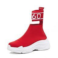 baratos Sapatos Femininos-Mulheres Sapatos Pêlo Sintético Primavera Verão Conforto Tênis Salto Plataforma Preto / Vermelho