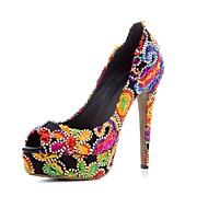 baratos Sapatos Femininos-Mulheres Sapatos Linho Primavera Verão Conforto Saltos Salto Agulha Arco-íris