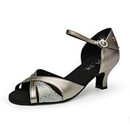 billige Moderne sko-Dame Sko til latindans / Moderne sko Syntetisk Sandaler Glimmer Kubansk hæl Kan spesialtilpasses Dansesko Bronse / Sølv