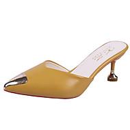 baratos Sapatos Femininos-Mulheres Sapatos Couro Ecológico Primavera Verão Chanel Tamancos e Mules Salto Sabrina Dedo Apontado Preto / Bege / Amarelo