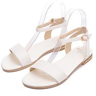 tanie Obuwie damskie-Damskie Komfortowe buty Skóra nappa Lato Sandały Płaski obcas Biały / Czarny / Szampański