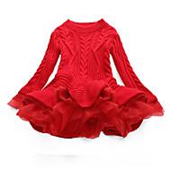 שמלה שרוול ארוך טלאים טלאים ליציאה סגנון רחוב בנות ילדים / כותנה