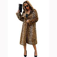 Žene Izlasci / Rad Sofisticirano Jesen / Zima Maxi Krzneni kaput, Jednobojni Odbačenost Dugih rukava Raccoon Fur Braon XL / XXL / XXXL / Sexy