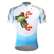 ILPALADINO 남성용 짧은 소매 싸이클 져지 - 블루 자전거 져지 탑스 통기성 빠른 드라이 자외선 방지 스포츠 폴리에스테르 100% 폴리에스터 테릴린 산악 자전거 로드 사이클링 의류 / 스트레치 / 백 포켓