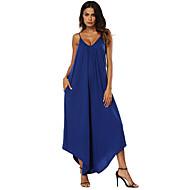 สำหรับผู้หญิง ทุกวัน สาย สีน้ำเงิน สีดำ ไวน์ ชุด Jumpsuits, สีพื้น XL XXL XXXL เสื้อไม่มีแขน