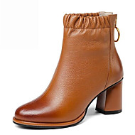 baratos Sapatos Femininos-Mulheres Curta/Ankle Pele Napa Inverno Saltos Salto Robusto Dedo Apontado Botas Curtas / Ankle Flor de Cetim Preto / Marron