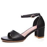 baratos Sapatos Femininos-Mulheres Sapatos Confortáveis Pele Napa Primavera Sandálias Salto Robusto Branco / Preto