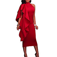 cheap -Women's Party / Going out Sexy Slim Bodycon Dress - Solid Colored Red Crew Neck Summer Blue Black Red L XL XXL