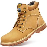 baratos Sapatos Masculinos-Homens Coturnos Pele Napa Inverno Casual Botas Manter Quente Botas Curtas / Ankle Amarelo