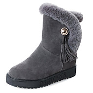 baratos Sapatos Femininos-Mulheres Botas de Neve Couro Ecológico Outono Botas Sem Salto Ponta Redonda Botas Cano Médio Preto / Cinzento / Verde