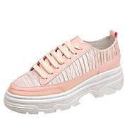 tanie Obuwie damskie-Damskie Komfortowe buty Bawełna Jesień Casual Adidasy Płaski obcas Biały / Czarny / Szampański