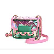 baratos Bolsas de Ombro-Mulheres Bolsas PVC / PU Bolsa de Ombro Botões Geométrica Rosa / Azul Céu