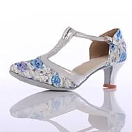 billige Kustomiserte dansesko-Dame Moderne sko Strikket Høye hæler Tvinning Kubansk hæl Kan spesialtilpasses Dansesko Blå