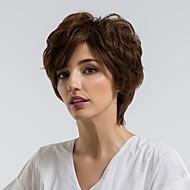 Peruca fara cap fara par Păr Natural Buclat Frizură Pixie Linia naturală de păr Maro Închis Fără calotă Perucă Pentru femei Purtare Zilnică