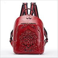 cheap School Bags-Women's Bags Cowhide Backpack Zipper Black / Red