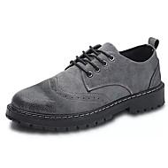 baratos Sapatos Masculinos-Homens Fashion Boots Couro de Porco / Couro Ecológico Outono Formais Oxfords Não escorregar Botas Curtas / Ankle Preto / Cinzento / Marron