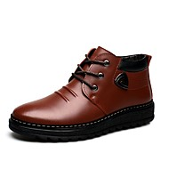 cheap Men's Boots-Men's Snow Boots Patent Leather Winter Casual Boots Keep Warm Booties / Ankle Boots Striped Black / Brown / Outdoor