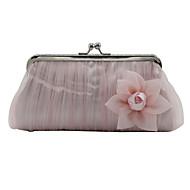 baratos Clutches & Bolsas de Noite-Mulheres Bolsas Chifon Bolsa de Festa Apliques Floral / Botânico Preto / Rosa