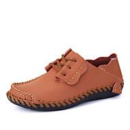 baratos Sapatos Masculinos-Homens Sapatos de couro Couro Outono & inverno Casual Tênis Não escorregar Laranja / Cinzento / Marron