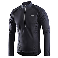 Arsuxeo Men's Long Sleeve Cycling Jersey Downhill Jersey - Red Green Dark Gray Solid Color Bike Jersey Breathable Quick Dry Reflective Strips Sports Winter Polyester Mountain Bike MTB Road Bike