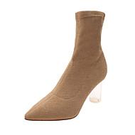 tanie Obuwie damskie-Damskie Fashion Boots PU Jesień Casual Botki Kryształowy obcas Kozaki Czarny / Beżowy