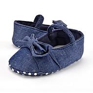 tanie Obuwie dziewczęce-Dla dziewczynek Obuwie Jeans Wiosna i jesień Buty do nauki chodzenia Buty płaskie Kokarda na Dziecko Niebieski