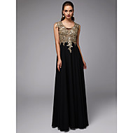 A-Line U Neck Floor Length Chiffon / Lace Formal Evening Dress with Appliques by TS Couture®
