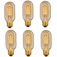baratos Incandescente-6pcs 40 W E26 / E27 T45 Branco Quente 2200-2800 k Retro / Regulável / Decorativa Incandescente Vintage Edison Light Bulb 110-130 V