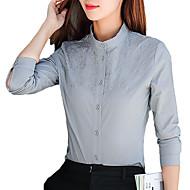 女性用 刺繍 シャツ ベーシック ソリッド