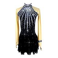 cheap -Figure Skating Dress Women's / Girls' Ice Skating Dress Black Spandex Micro-elastic Professional / Competition Skating Wear Handmade Sequin Long Sleeve Figure Skating