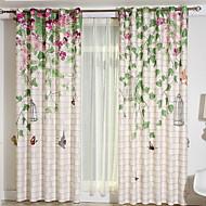 billige Gardiner ogdraperinger-gardiner gardiner Soverom Blomstret / Geometrisk Lin Reaktivt Trykk