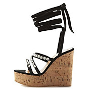 cheap -Women's Wedge Sandals Suede Summer Sandals Wedge Heel Black