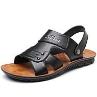 tanie Small Size Shoes-Męskie Komfortowe buty Skóra Wiosna i lato Sandały Czarny / Brązowy