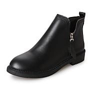 baratos 2018 Botas Femininas-Mulheres Fashion Boots Couro Ecológico Outono Minimalismo Botas Salto Baixo Ponta Redonda Botas Curtas / Ankle Preto