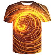T-shirt - Taglie forti Per uomo Serata Moda città / Punk & Gotico Con stampe, Monocolore / 3D Rotonda Giallo XXL / Manica corta / Estate