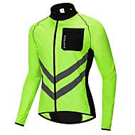 WOSAWE Hombre Maillot de Ciclismo Chaqueta de Ciclismo Bicicleta Paravientos Top Resistente al Viento Bandas Reflectantes Bolsillo trasero Deportes Retazos Poliéster Verde Ciclismo de Montaña