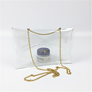 baratos Bolsas de Ombro-Mulheres Bolsas PVC Bolsa de Ombro Ziper Dourado / Prata