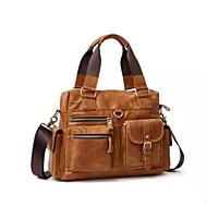cheap Satchels-Men's Bags Cowhide Satchel Zipper Solid Color Dark Brown