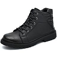billige Herresko-Herre Fashion Boots Læder Vinter Vintage / Afslappet Støvler Hold Varm Støvletter Sort / Grå