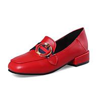 baratos Sapatos Femininos-Mulheres Sapatos Confortáveis Couro Ecológico Primavera Mocassins e Slip-Ons Salto de bloco Vermelho / Verde / Amêndoa