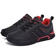 baratos Sapatos Masculinos-Homens Sapatos Confortáveis Couro Ecológico Outono Tênis Caminhada Preto / Preto / Vermelho