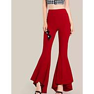 בגדי ריקוד נשים כותנה רזה חיתוך נעל מכנסיים - מותניים גבוהים אחיד
